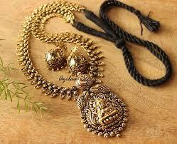 ethnic gold necklace images Indu goddess antique gold necklace set at 4550 azilaa jpg