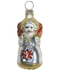 blown glass christmas angel ornament from germany old fashioned