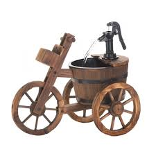 wooden tricycle garden fountain pump handle water feature yard