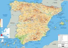 physical map of spain map spain major tourist attractions maps