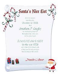 nice list certificate certificate christmas printable card