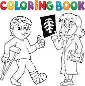 coloring book patient doctor stock vector art 484646810
