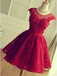 knee length red short lace prom dress homecoming dress simibridal