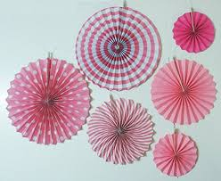 hanging paper fans party land baby shower pink fan decorations 6pcs designer paper