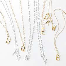 Intial Necklace Sarah Chloe Amelia Long Link Initial Necklace Mark And Graham