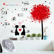 compare prices on cats wall sticker online shopping buy low price cute couple cat wall stickers happy valentines day romantic home decor wall stickers for bedroom decoration