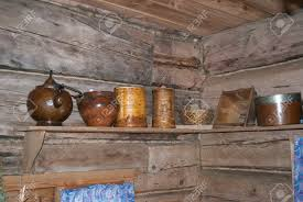 russian home interior in the middle ages wooden shelf with