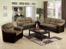 furniture acme 15140 saddle microfiber u0026 espresso bycast pu sofa set
