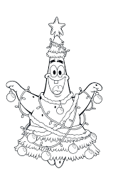 patrick friend spongebob christmas very happy coloring page