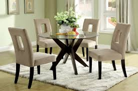 simple dining room sets glass top furniture wood base circular in
