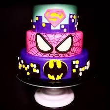 girlie superhero cake superman spiderman batman carrotcake