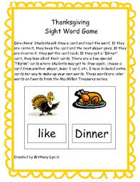 thanksgiving sight word card school ideas