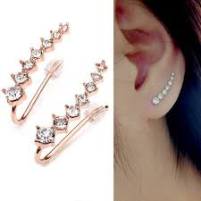 cuff earings italina rhinestone ear cuff earrings 18k gold plated