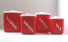 kitchen canister set vintage red kitchen retro plastic canisters