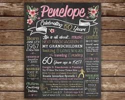 gifts 60 year woman 60th birthday chalkboard 1958 60 years ago in 1958 born in 1958