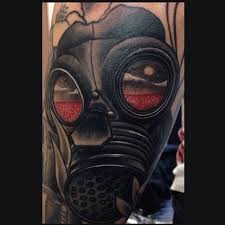 ben franklin gas mask tattoo on arm by dpcorpse