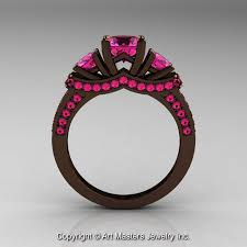 Gps Wedding Ring by Exclusive French 14k Chocolate Brown Gold Three Stone Pink