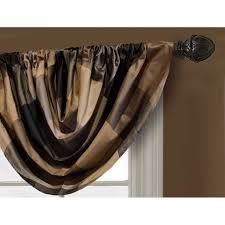 shop allen roth emilia 36 in onyx polyester rod pocket valance