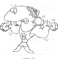 vector of a cartoon fish lifting weights and wearing a fish for