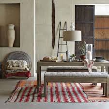 simple moroccan dining room design with two long bench wooden