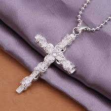 aliexpress cross necklace images Fashion silver cross pendants necklaces 925 sterling silver jpg