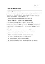 verb tense consistency exercise 1