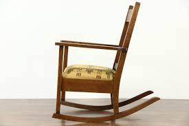 Upholstered Rocking Chair Sold Arts U0026 Crafts Mission Oak Rocker Antique Craftsman Rocking