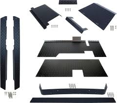 ezgo diamond plate accessory kit black txt with floor golf