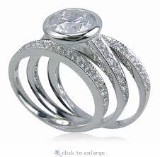 three ring wedding set 2 carat bezel set cubic zirconia micro pave three ring