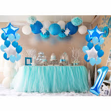 baby boy 1st birthday fengrise 1st blue theme party decoration blue pompom happy