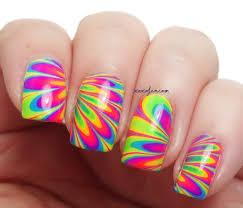 xoxo jen neon rainbow water marble nail art