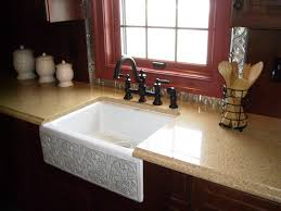 Faucets For Kitchen Sinks by Kitchen Cozy Quartz Granite Countertop With Farmhouse Kitchen
