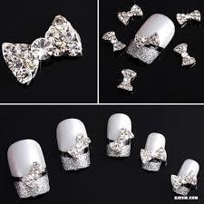 cwholesale 3d clear alloy rhinestone bow tie nail art slices diy