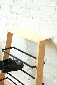 aubrie shoe storage bench classic cherry mid century modern shoe