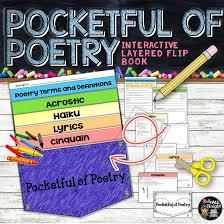 Poetry terms haiku acrostic cinquain lyrics pocket flip book