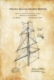 ship sails patent print vintage sails ship sail blueprint