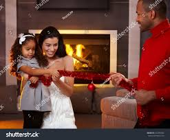 At Home Christmas Decorations by Happy Family Having Fun Home Stock Photo 162384503