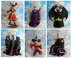 disney villains with sorcerer mickey ornament set featuring 6