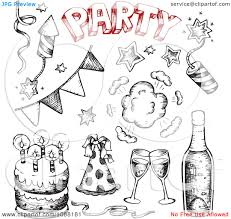 new year items clipart black and white and sketched birthday cakes and new