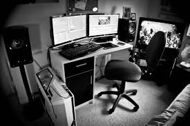 dual desk office ideas dual monitors headphone hook tv nice pc case pc room