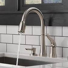 kitchen faucet with soap dispenser delta 16970 sssd dst single handle pull kitchen faucet with