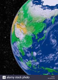 Asia Continent Map Simulated Satellite View Of Part Of The Earth Asia From Space