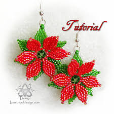 bead pattern poinsettia earrings with faceted