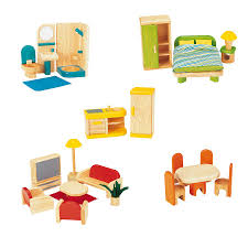Dolls House Furniture Sets Large Wooden Home With Furniture Set Multi Level Wooden Dolls