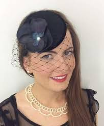 funeral hat black velvet orchid hat headpiece fascinator pillbox 40 s