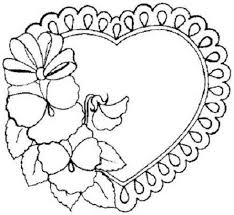 printable flower with heart shaped coloring pages for your girls