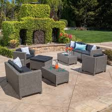 puerta outdoor 9 piece wicker sectional sofa set with cushions