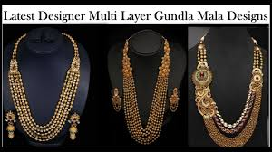 multi gold necklace images Gundla mala jewellery designs in gold multi layer gold long jpg