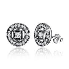 real earrings authentic real 925 sterling silver vintage clear cz stud
