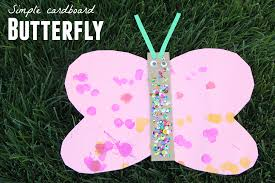 toddler approved simple cardboard butterfly craft for toddlers